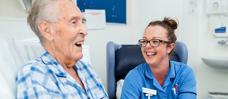 A St Catherine's Hospice nurse and patient on our Crawley IPU - what we do