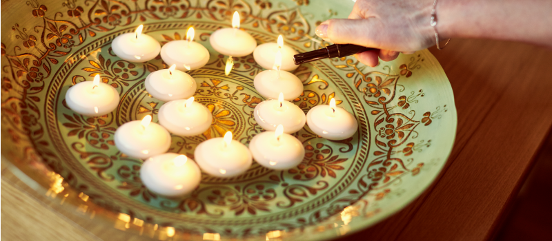 Candles lit in memory of a loved one
