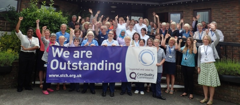 St Catherine's Hospice staff celebrate Outstanding CQC rating