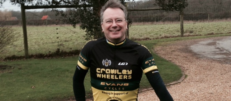 man in cycling jersey ready for London to Paris cycle challenge