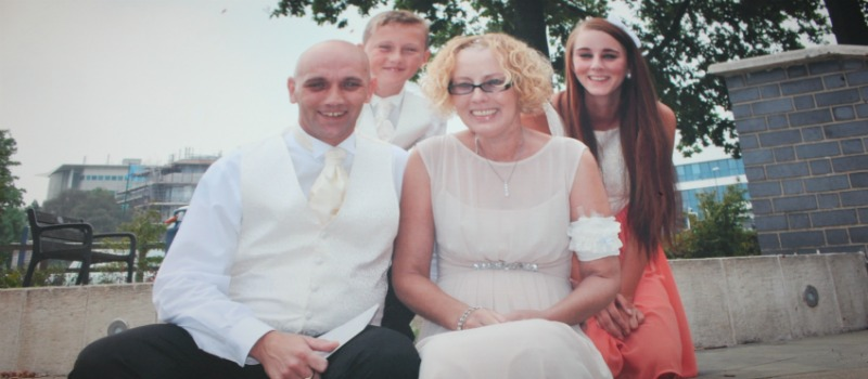 family on wedding day
