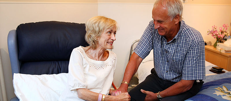 St Catherine's Hospice ward patient and her husband