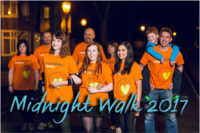 People walking in St Catherine's Hospice t-shirts. Midnight Walk