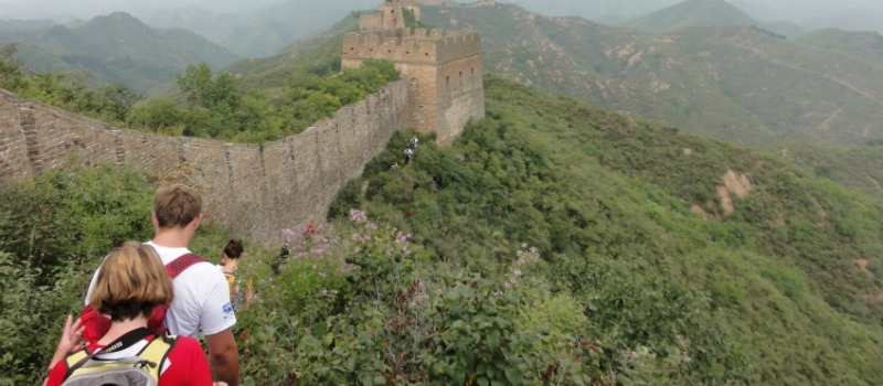 People trekking the Great Wall of China